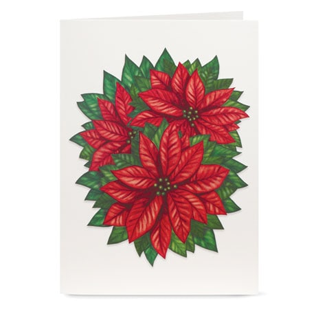 Cheerful Poinsettia Pop-Up Christmas Greeting Cards