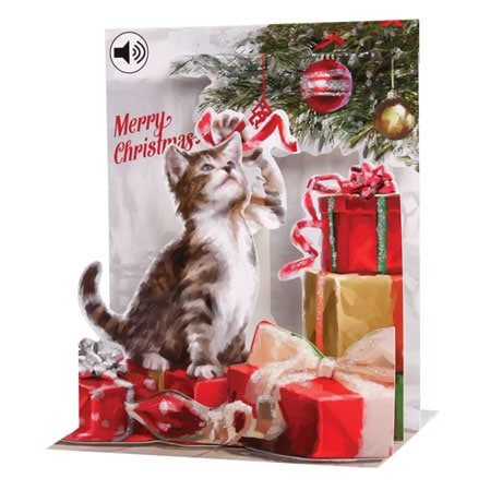 Christmas Kitten Musical Pop-Up Greeting Card