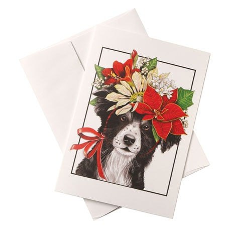 Collie and Poinsettias Cards