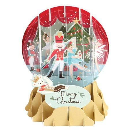 Nutcracker Pop-Up Snow Globe Greeting Card