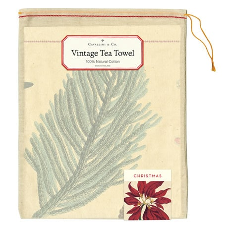 Vintage Christmas Botanicals Tea Towel