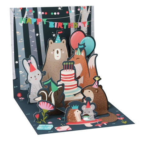 Nocturnal Birthday Party Light-Up Pop-Up Greeting Card