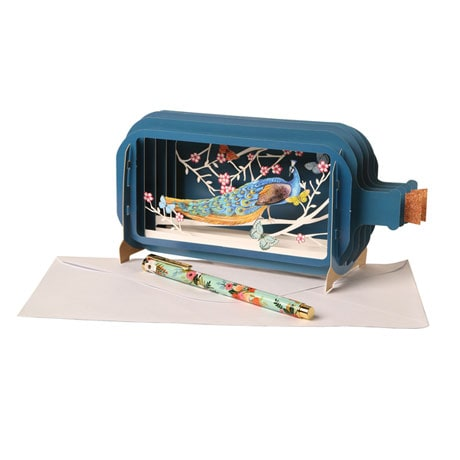 Peacock Message-in-a-Bottle 3D Pop-Up Greeting Card