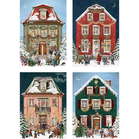Victorian Christmas Houses Advent Calendar Cards