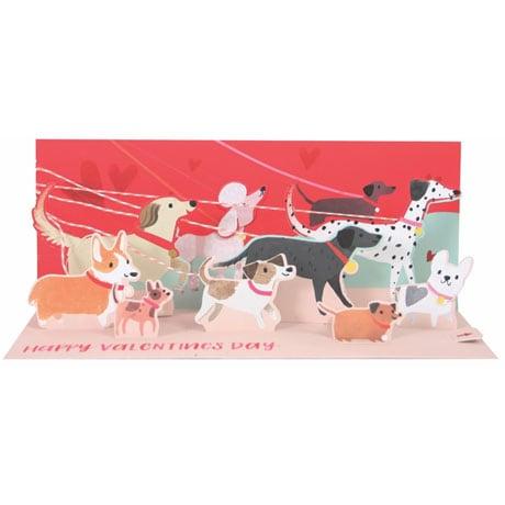 Valentine Dog Walk Lighted Panoramic Pop-Up Card