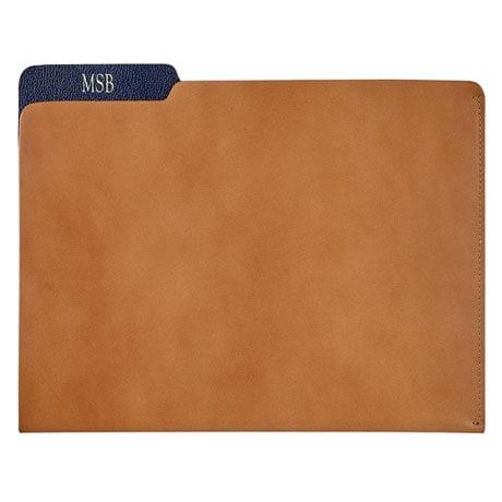 Personalized Leather File Folder - Tan