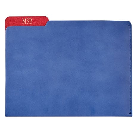 Personalized Leather File Folder - Blue