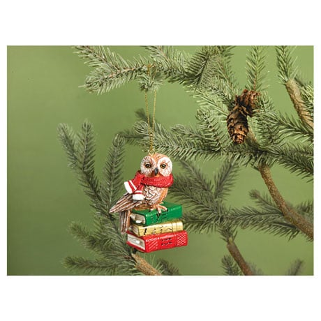 Bookish Owl Ornament
