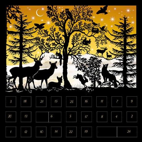 Christmas Scene Silhouettes Advent Calendar Cards