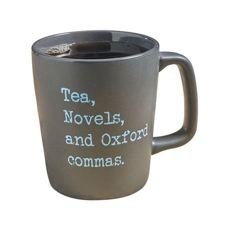 Tea, Novels, and Oxford Commas Mug