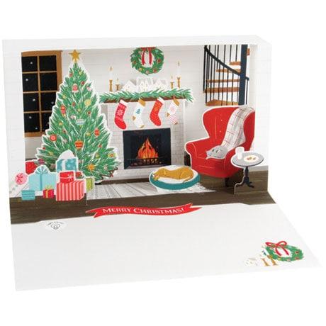 Stockings and Mantel Shadow Box Card