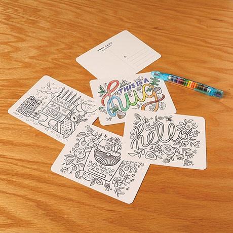 Color-In Postcards Set