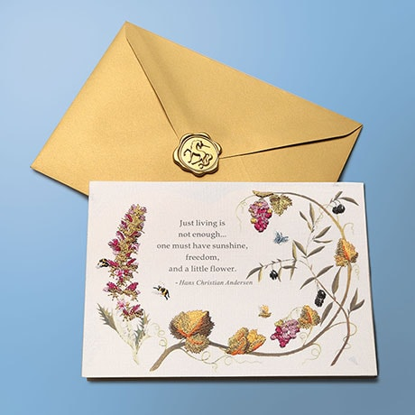 Embroidered Floral Birthday Card
