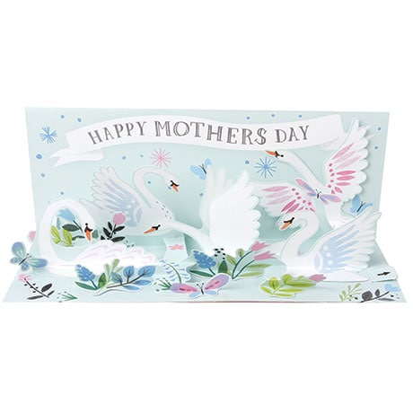 Spring Swans Mother's Day Panoramic Pop-Up Card