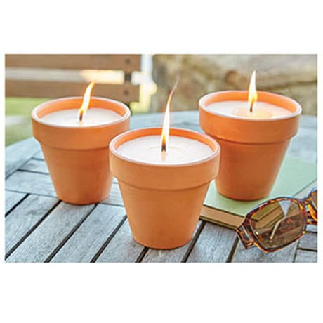 Citronella Candles in Terra-Cotta Pots