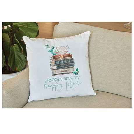"""""""Books are My Happy Place"""" Pillow"""