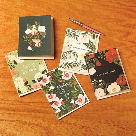 Floral Message Cards - Set of 5 Cards