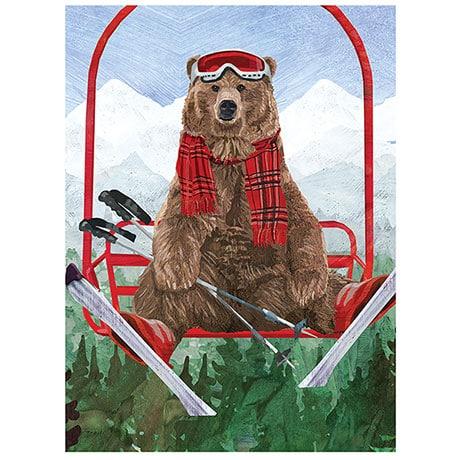 Skiing Bear Christmas Cards