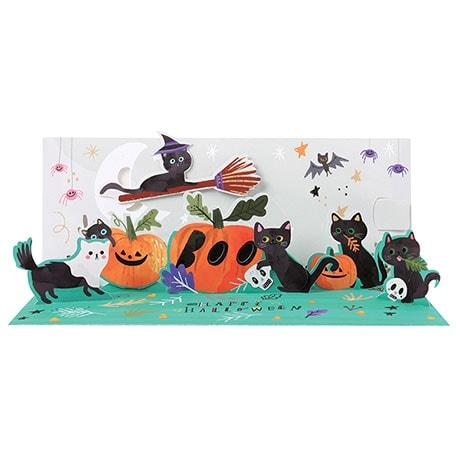Black Cats Halloween Pop-Up Card