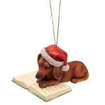Reading Dachshund Ornament