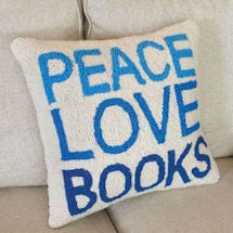 Peace Love Books Pillow
