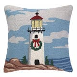 Christmas Wreath Lighthouse Pillow