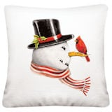 Snowman and Cardinal Pillow