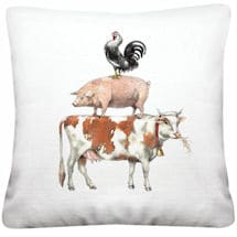 Stack of Farm Animals Pillow