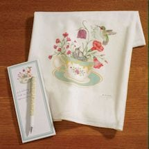 Hummingbird Tea Towel and Notepad Set