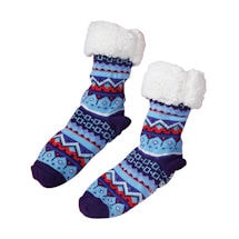 Nordic Blue Slipper Socks