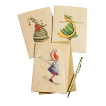Whimsical Winter Women Wooden Note Cards: Set of Three