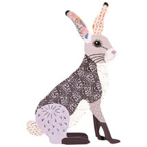 Woodsy Wooden Brooch: Hare
