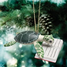 Reading Sea Turtle Ornament