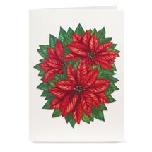 Cheerful Poinsettia Pop-Up Christmas Cards