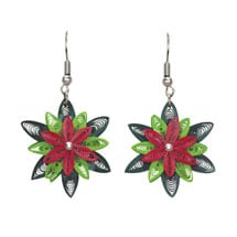 Quilling Poinsettia Earrings