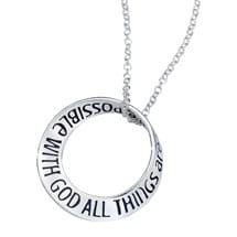 All Things are Possible with God Mobius Necklace